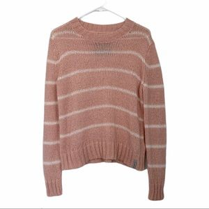 Superdry Mohair Blend Blush Pink Stripe Sweater L
